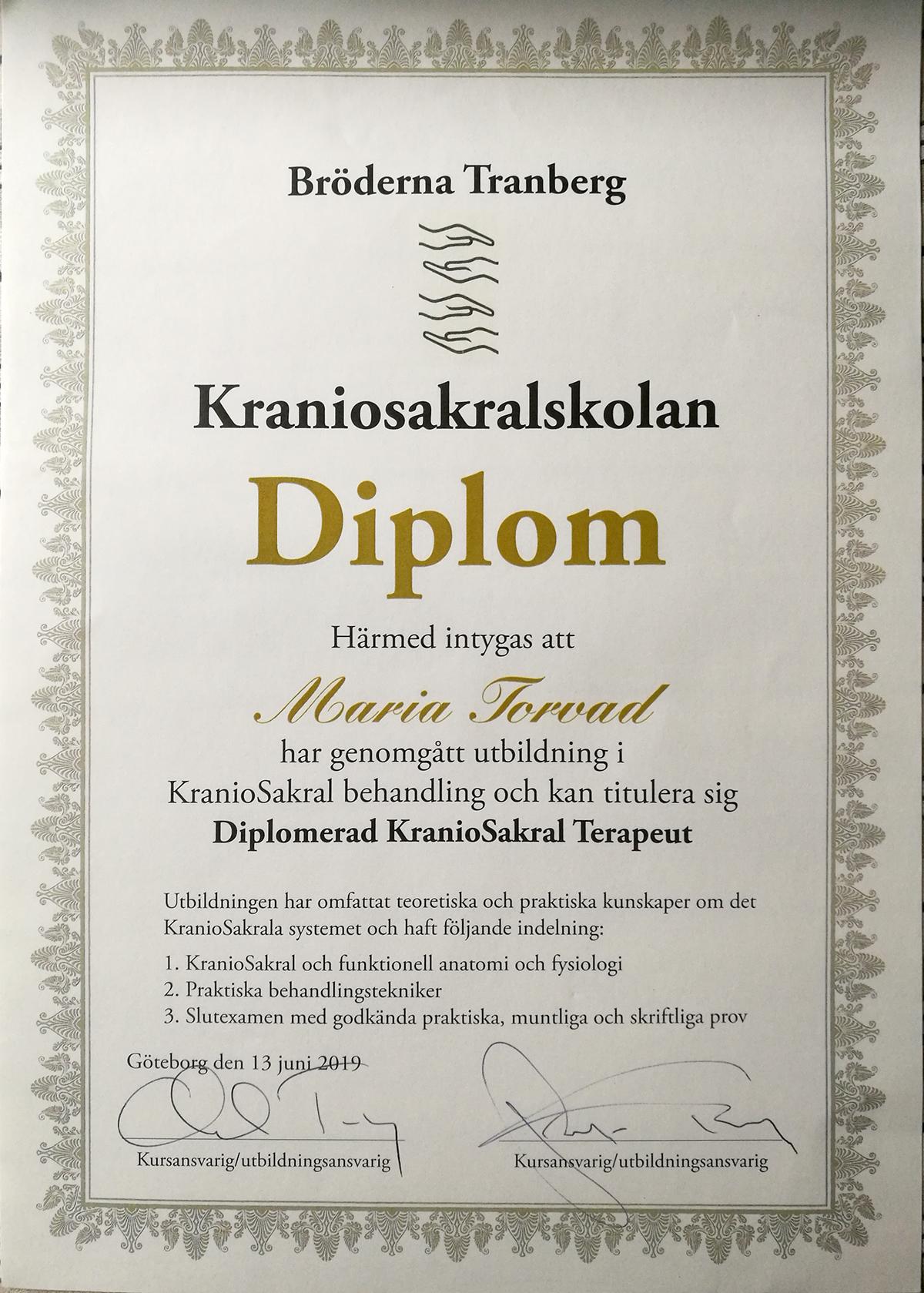 Foto på certifikat; Diplomerad KranioSakral Terapeut.